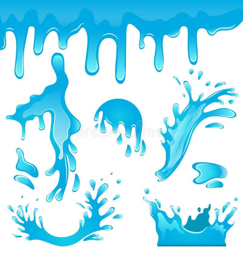 蓝色下落水 向量例证