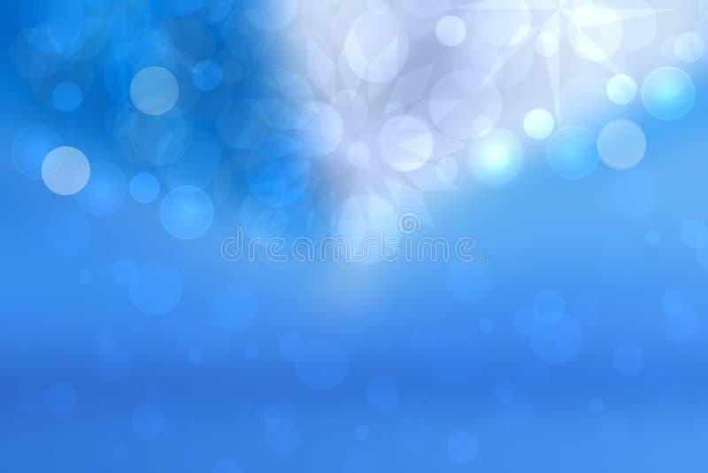 蓝色与发光的圆bokeh光和星的桃红色淡色轻的背景纹理抽象梯度  美丽五颜六色 向量例证