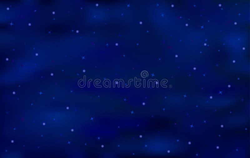 蓝色与发光的星的艺术抽象背景 免版税库存照片