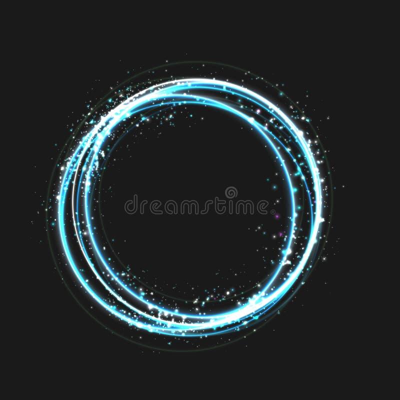 蓝色与圆的发光的元素、微粒和星的金圈子光线影响对黑暗的背景 发光的魅力设计 皇族释放例证