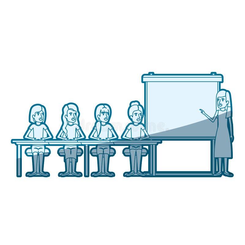 蓝色与坐在行政女性的一张书桌的妇女小组的剪影阴影presentacion商人的 向量例证