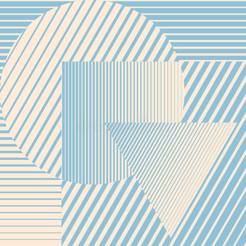 蓝色与形成抽象美好的背景的几何形状的颜色minimalistic设计 完善的装饰为 皇族释放例证