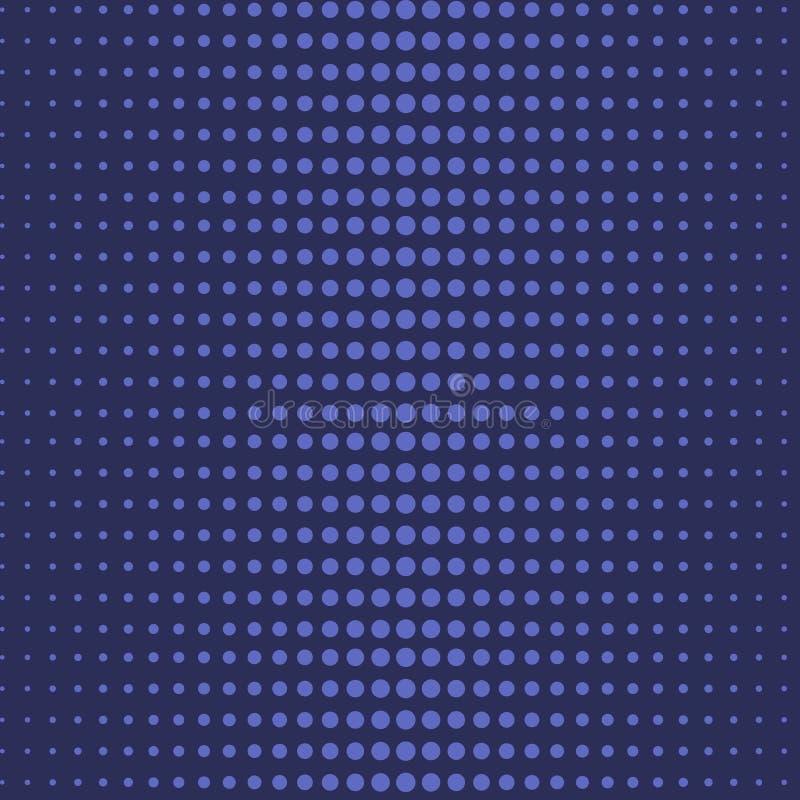 蓝色中间影调圆点摘要无缝的样式 库存例证