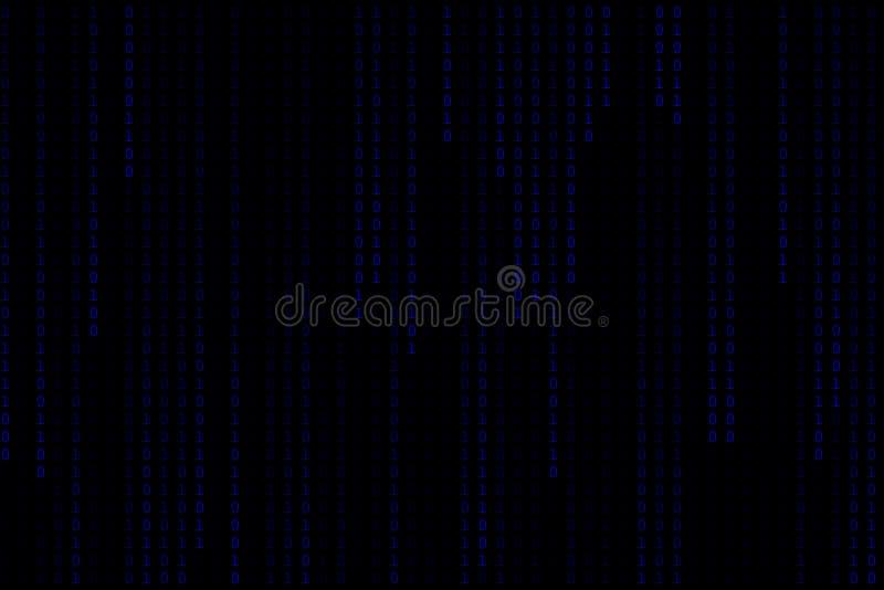 蓝色二进制码数字矩阵暗或黑背景技术 皇族释放例证