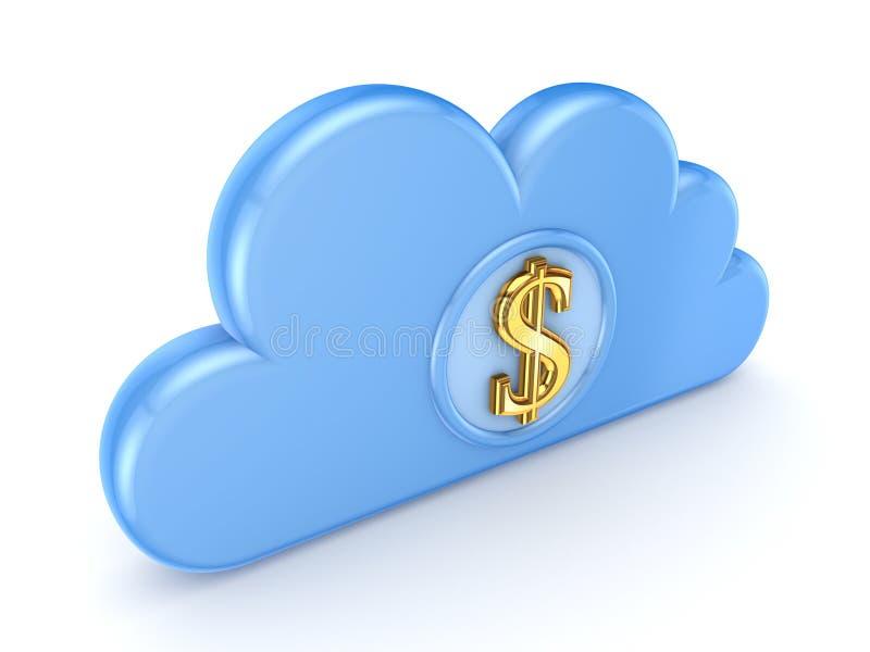 蓝色云彩和美元的符号。 库存例证