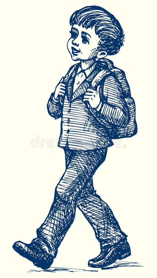 蓝色云彩图象彩虹天空向量 背包男孩颜色去例证概述学校 库存例证