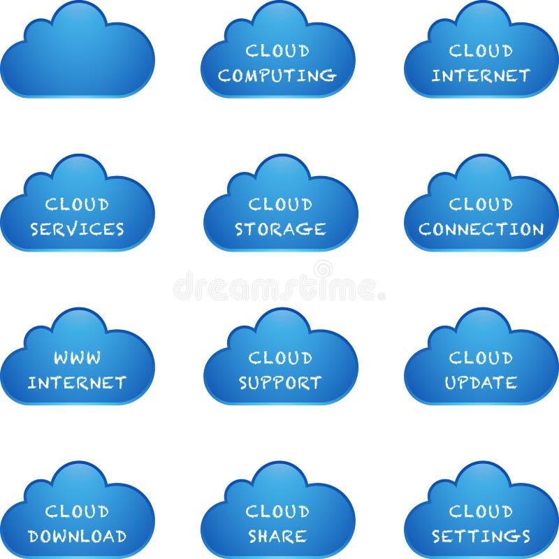 蓝色云彩计算的集 库存例证