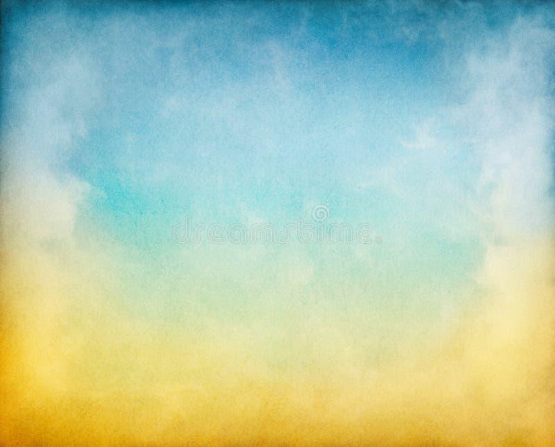 蓝色云彩黄色 图库摄影