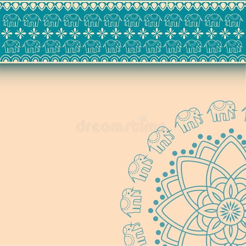 蓝色亚洲无刺指甲花的大象和与空间的奶油色边界设计文本的 皇族释放例证