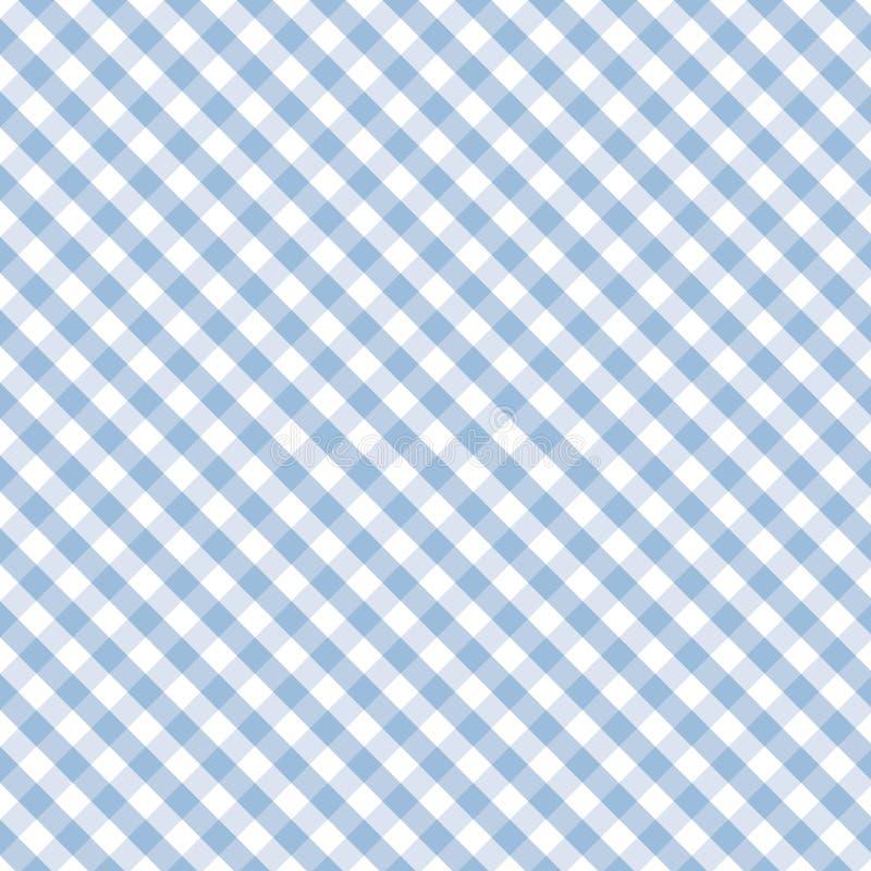 蓝色交叉方格花布淡色无缝的织法 向量例证