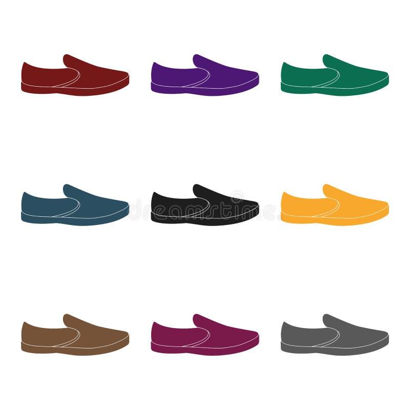 蓝色人夏天帆布鞋 在赤脚的夏天鞋子每天穿戴的 不同的鞋子选拔象  向量例证