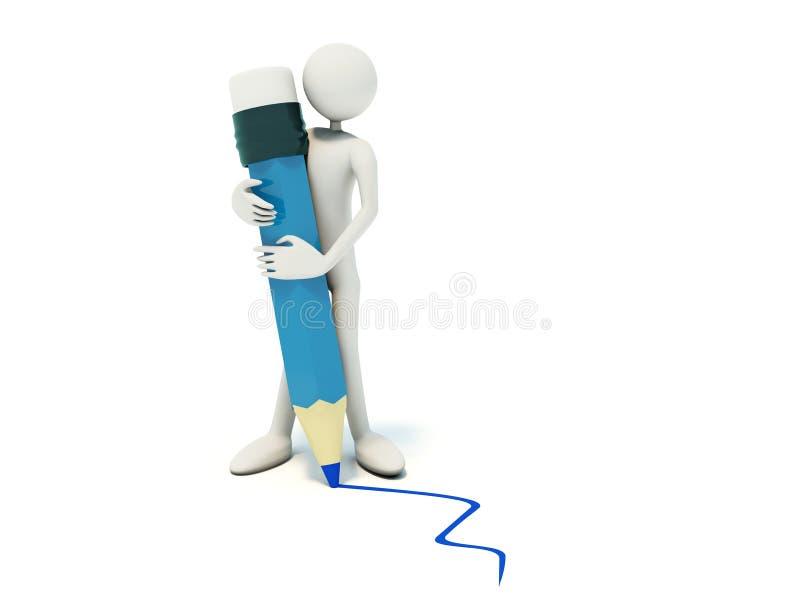蓝色人铅笔 库存例证