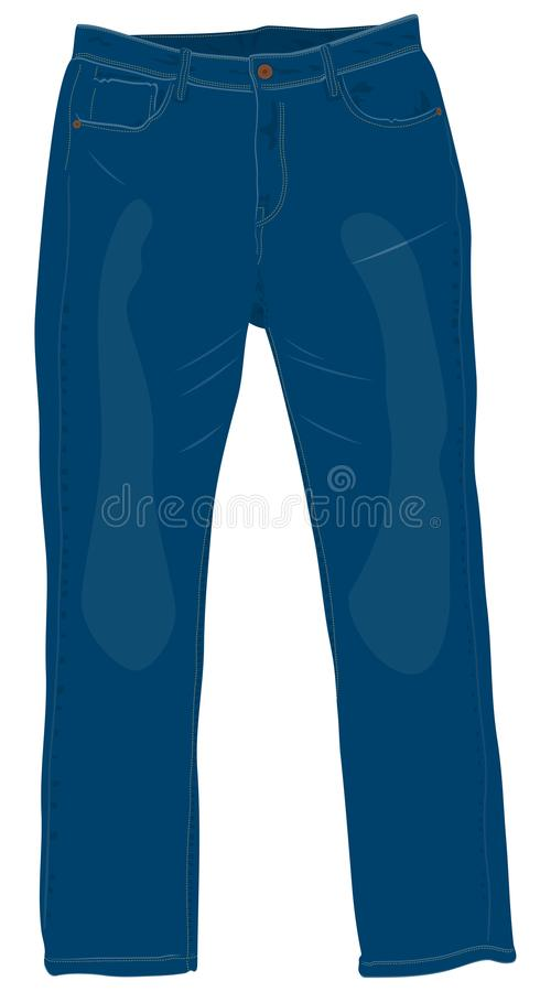 蓝色人` s牛仔裤有铜钮扣正面图隔绝了传染媒介我 库存例证