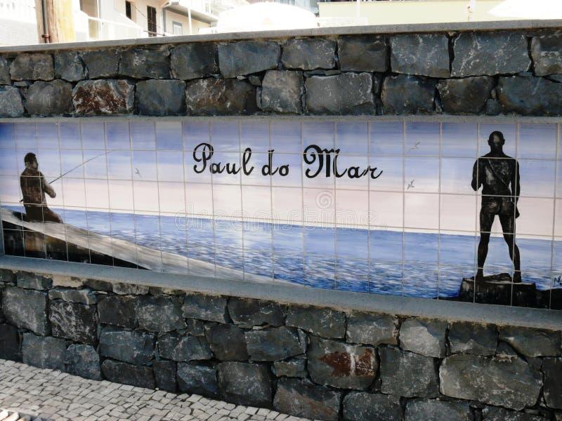蓝色从市的azulejo陶瓷匾保罗毁损 图库摄影
