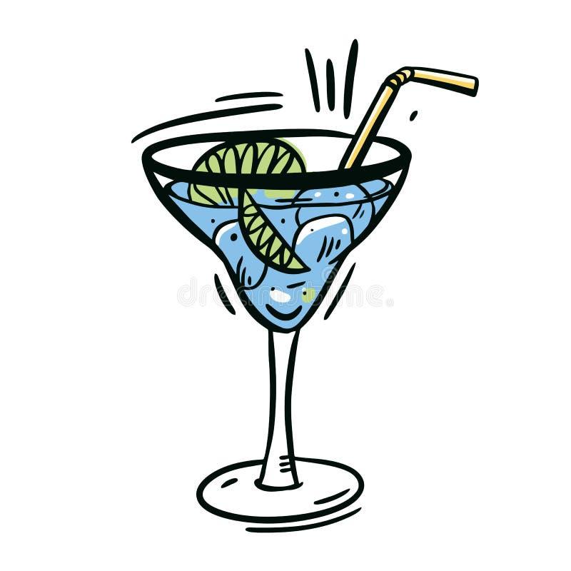 蓝色代基里酒玻璃 在白色背景隔绝的手拉的传染媒介例证 向量例证