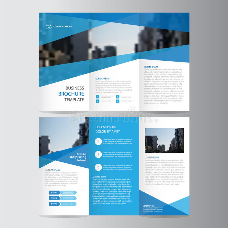 蓝色企业三部合成的传单小册子飞行物模板设计,书套布局设计,抽象蓝色介绍模板 库存例证