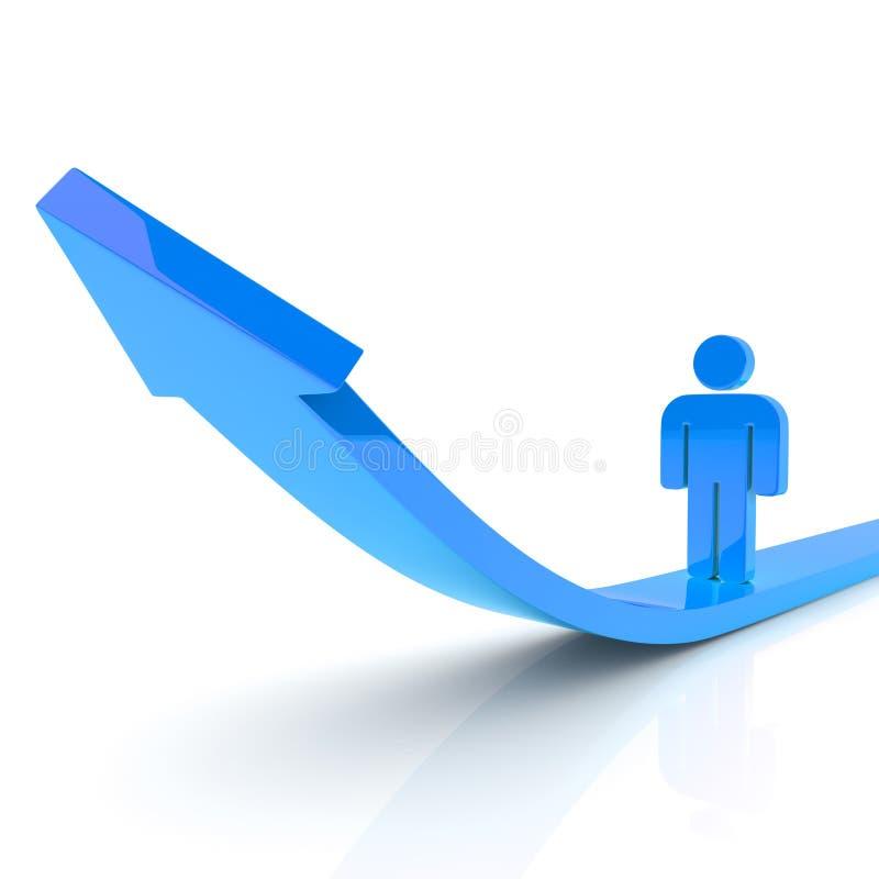 蓝色企业增长人 库存例证