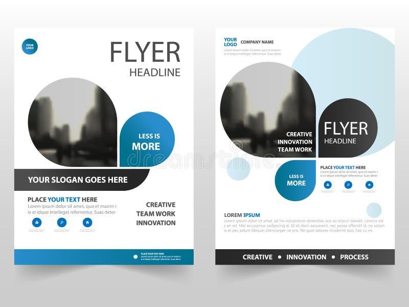 蓝色企业小册子传单飞行物年终报告模板设计,书套布局设计,抽象企业介绍 库存例证