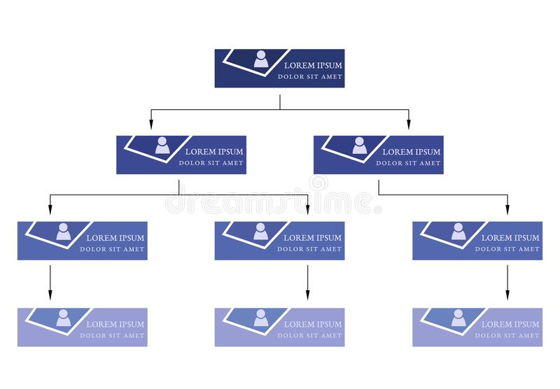 蓝色企业结构概念,与人象的公司组织系统图计划 皇族释放例证