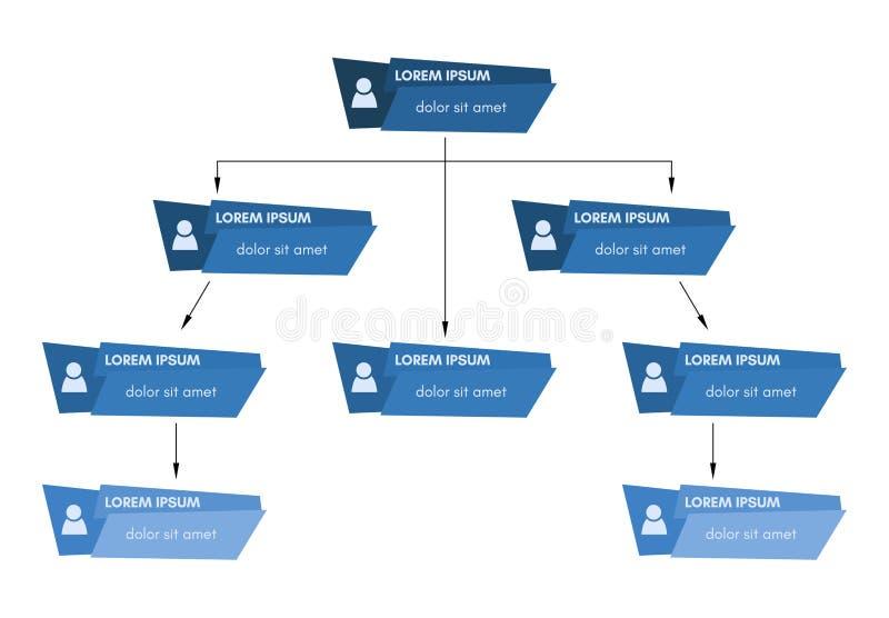 蓝色企业结构概念,公司组织系统图计划 向量例证