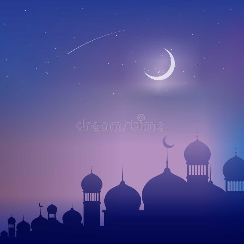 蓝色伊斯兰教的Backgound 与装饰品的蓝色伊斯兰教的墙纸 库存例证