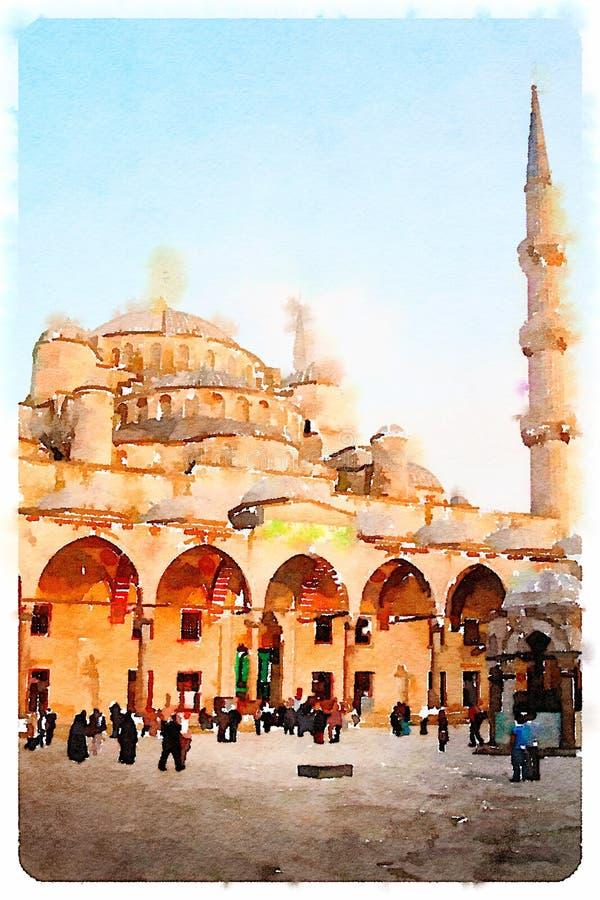 蓝色伊斯坦布尔清真寺 皇族释放例证