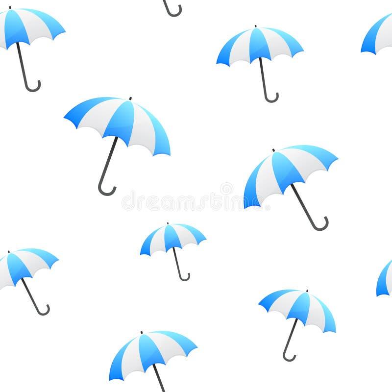 蓝色伞无缝的背景 皇族释放例证