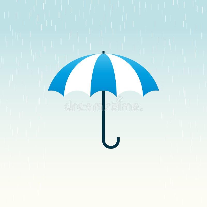 蓝色伞雨 库存例证