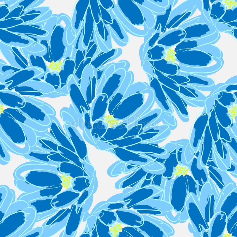 蓝色传染媒介无缝的背景开花报春花 皇族释放例证