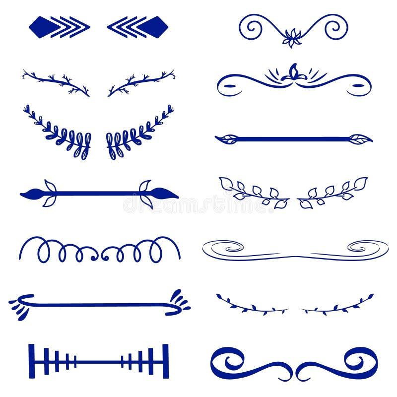 蓝色传染媒介装饰组合图案和书法边界 模板标志,商标,标签,贴纸 经典设计元素婚礼 库存例证
