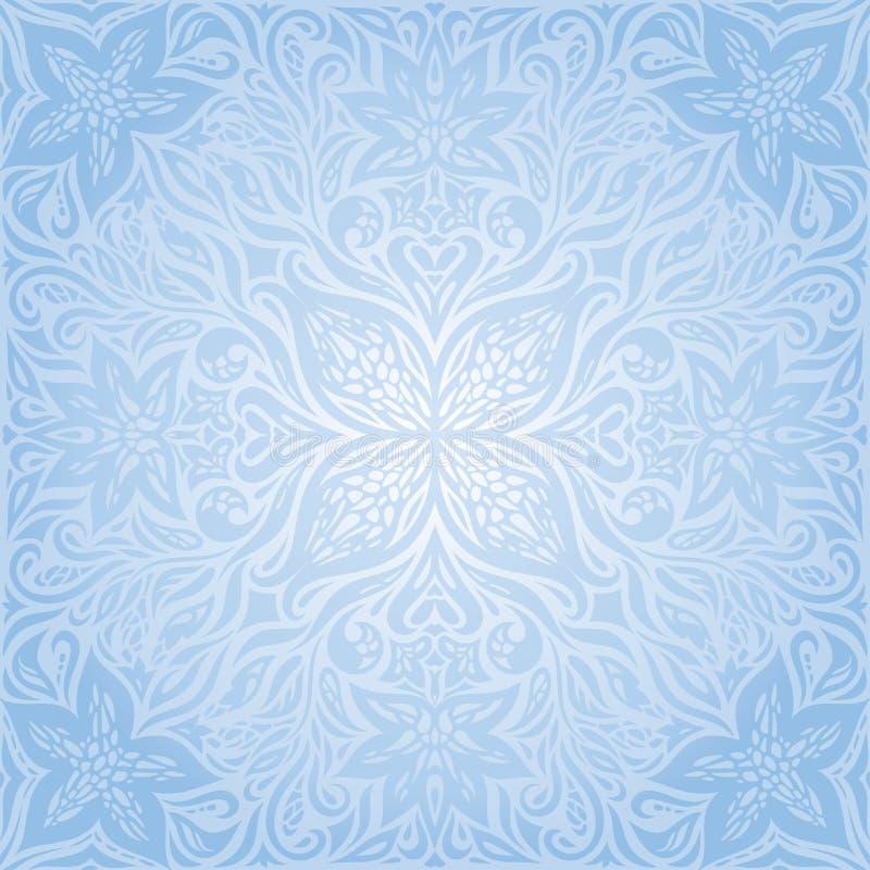 蓝色传染媒介装饰花背景花卉装饰时尚墙纸坛场设计 库存例证