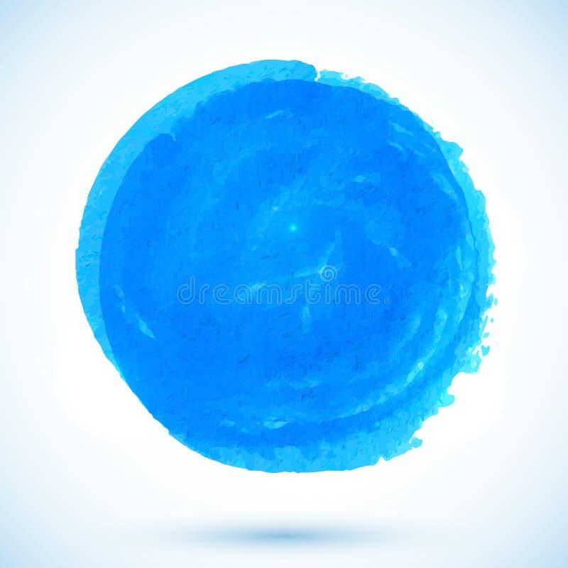蓝色传染媒介水彩圈子污点 皇族释放例证