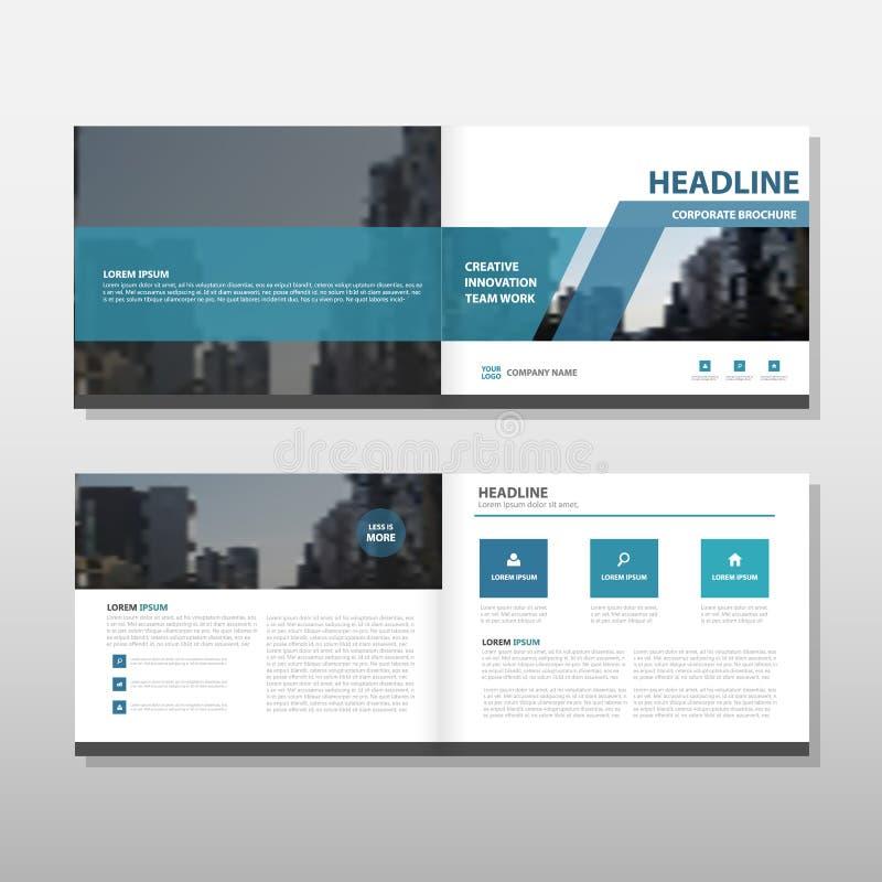 蓝色传染媒介年终报告传单小册子飞行物模板设计,书套布局设计,抽象企业介绍 皇族释放例证