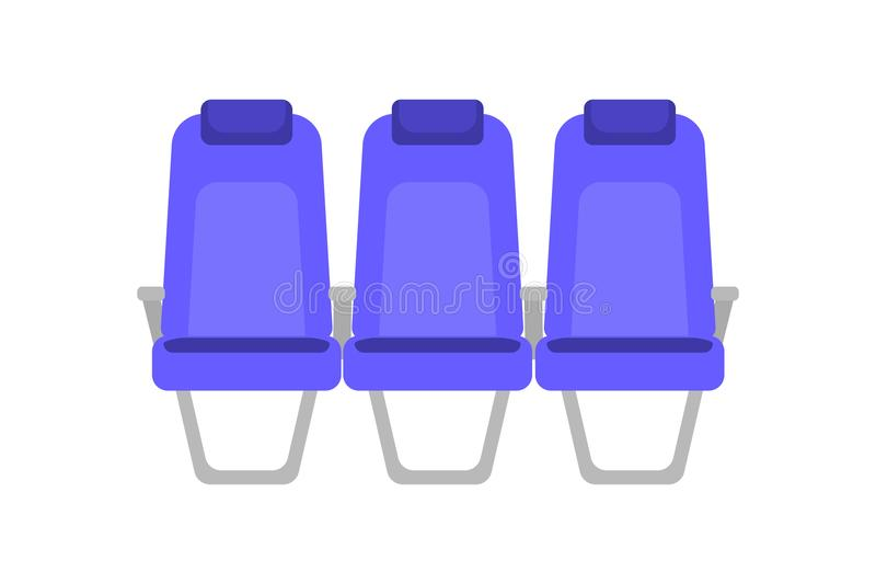 蓝色位子的传染媒介平的五颜六色的例证 动画片内部飞机位子 在业务分类客舱的椅子  库存例证