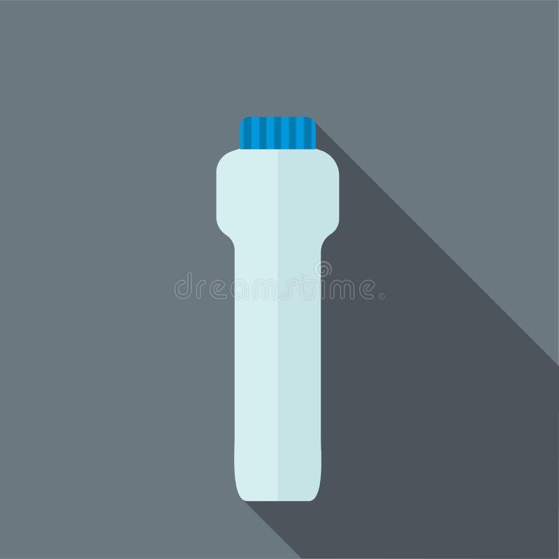 蓝色体育塑料水瓶象,平的样式 库存例证