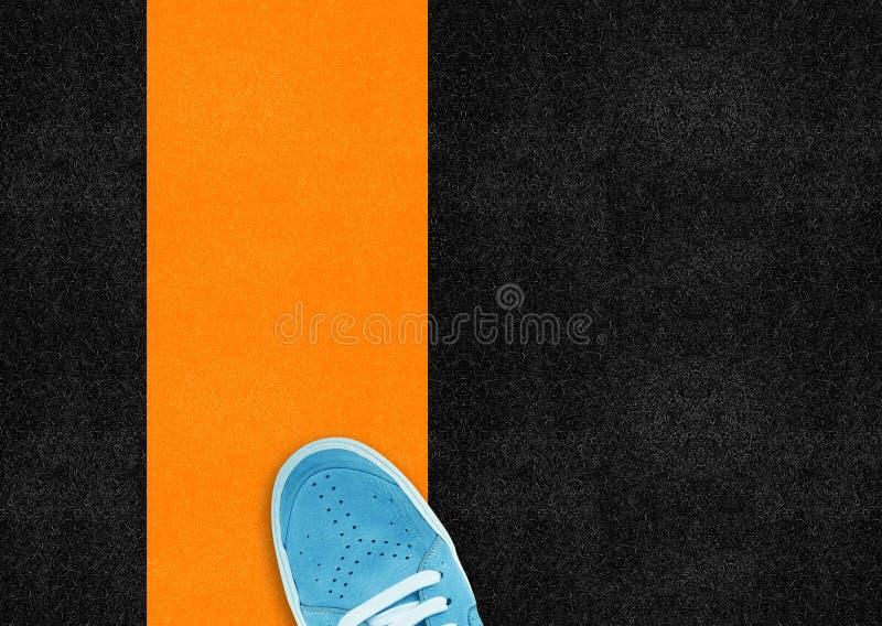 蓝色体育运动鞋子 免版税库存图片