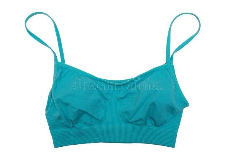 蓝色体育顶面胸罩 孤立 库存照片