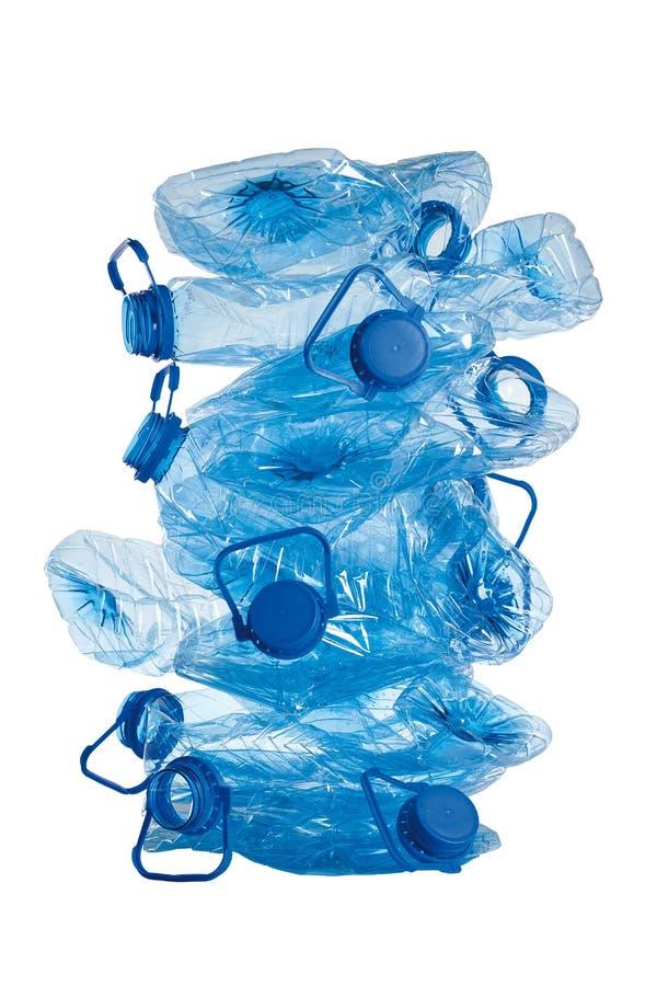 蓝色使用的瓶塑料栈 免版税库存图片