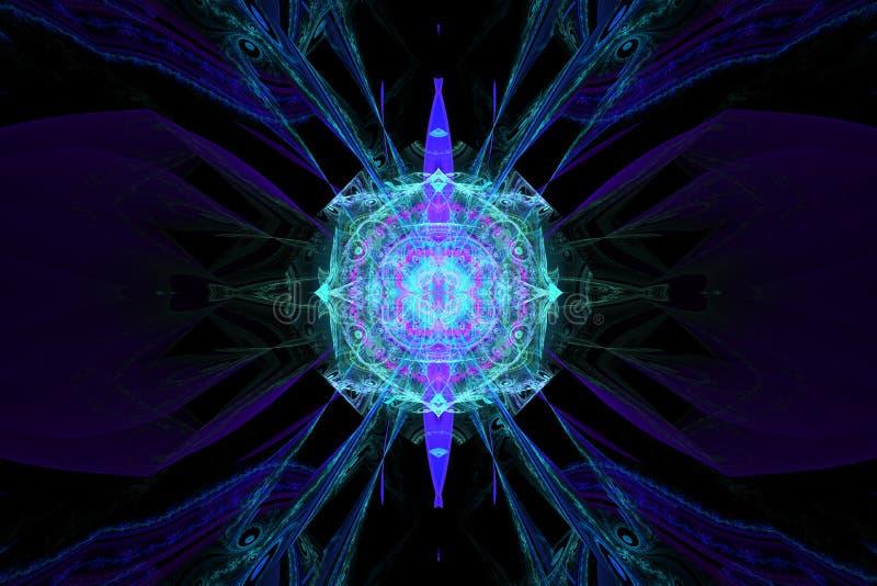 蓝色例证分数维背景几何形状书套magick爆炸作白日梦的音乐飞行物或其他概念 皇族释放例证