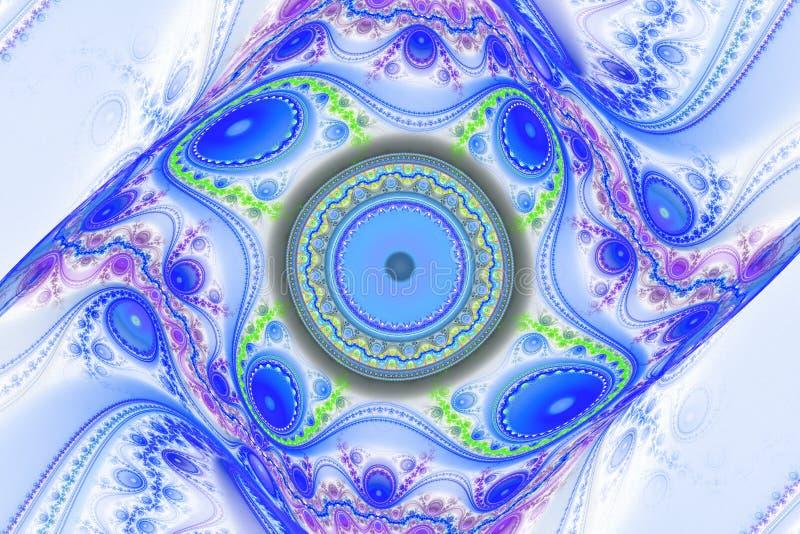 蓝色例证分数维背景几何形状书套magick爆炸作白日梦的音乐飞行物或其他概念 库存例证