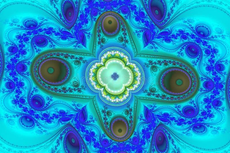 蓝色例证分数维背景几何形状书套magick爆炸作白日梦的音乐飞行物或其他概念 向量例证