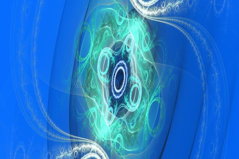 蓝色例证分数维背景几何形状书套magick爆炸作白日梦的音乐飞行物或其他 皇族释放例证