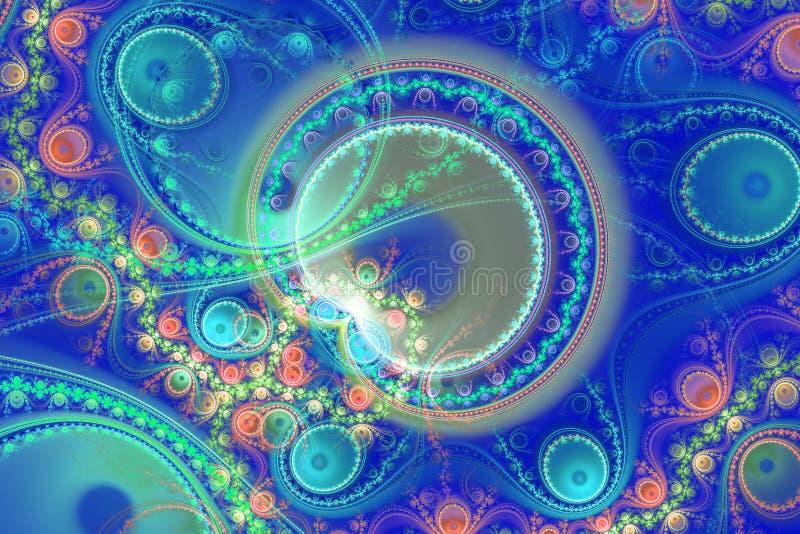 蓝色例证分数维背景几何形状书套magick爆炸作白日梦的音乐飞行物或其他 库存例证