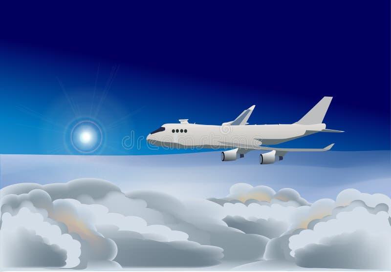 蓝色例证飞机天空 向量例证