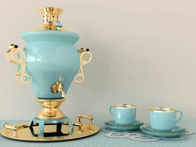 蓝色俄国式茶炊和杯子 库存例证
