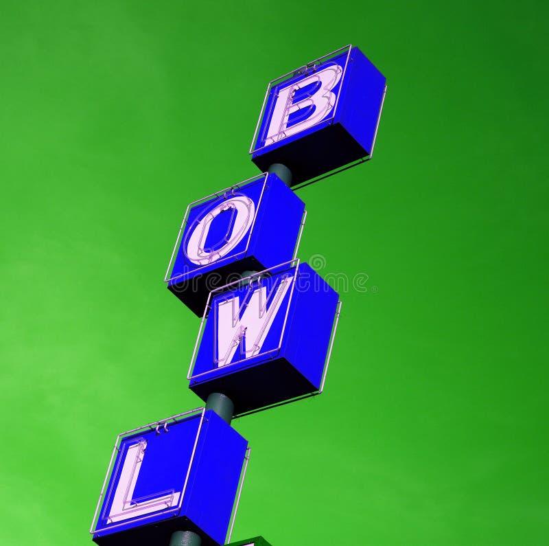 蓝色保龄球溜冰场符号 图库摄影