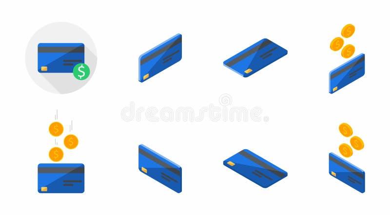 蓝色信用卡,万一银行卡,等量,财务,事务,没有背景,传染媒介,平的象,象组装,象集合 库存例证