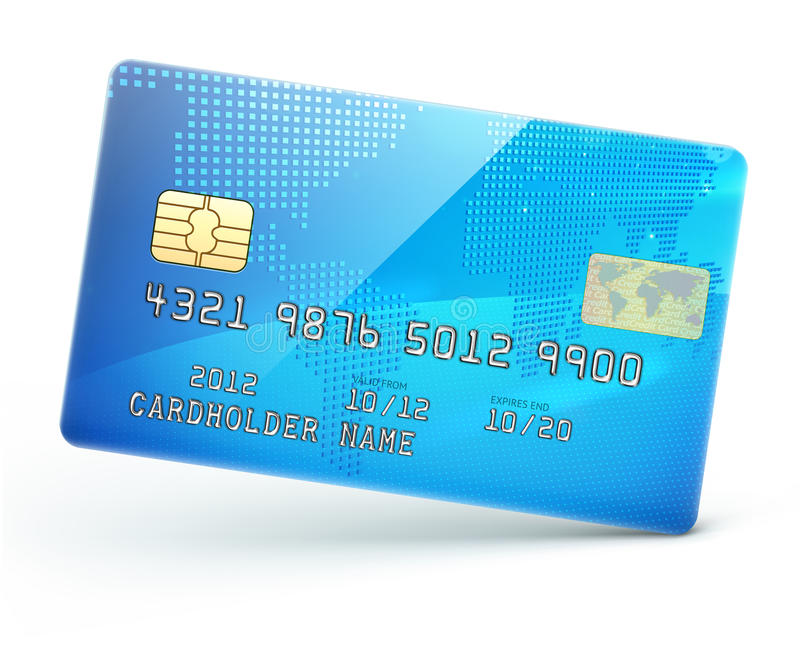 蓝色信用卡 库存例证