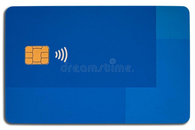 蓝色信用卡vith电子芯片 免版税库存图片