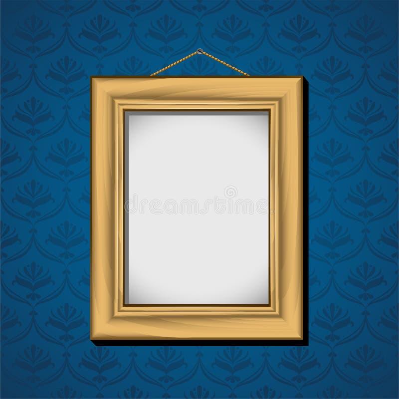 蓝色停止的photoframe墙壁墙纸 向量例证